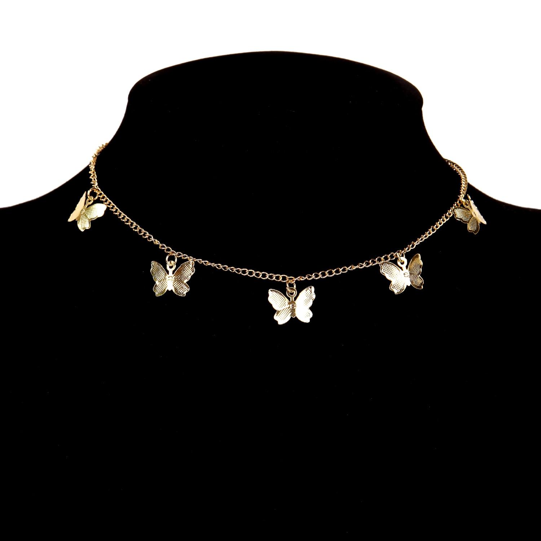 Gold Chain Butterfly Pendant Choker for Women